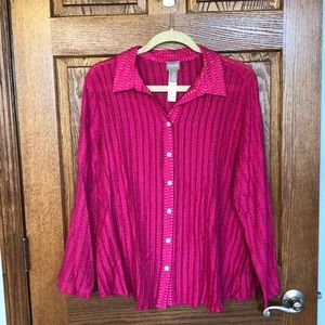 Chico's Fuschia Pink Roll Tab Sleeve Blouse EUC